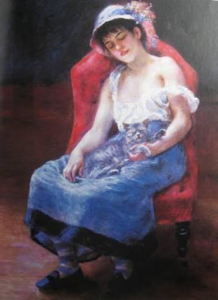 Renoir-Jeune fille au chat-1880